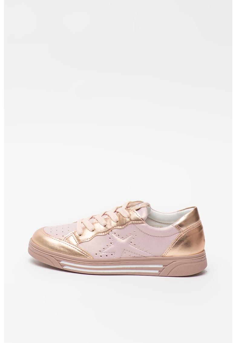 Pantofi sport de piele si piele ecologica cu garnituri metalizate