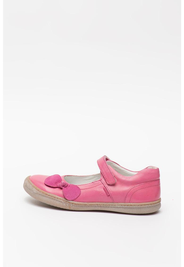 Pantofi Mary Jane de piele cu funda