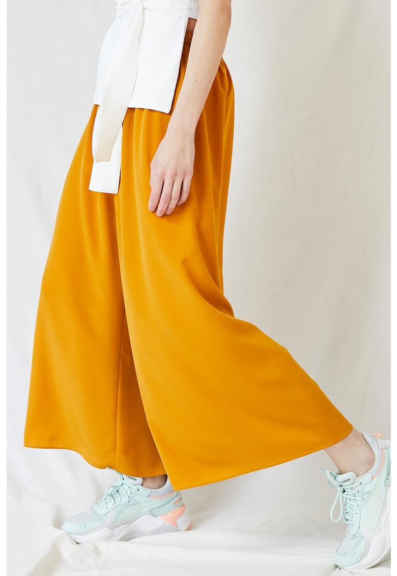 Pantaloni culotte cu banda elastica in talie imagine