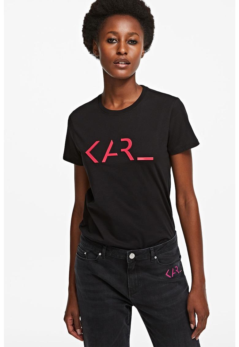 Tricou cu decolteu la baza gatului si imprimeu logo 3 imagine fashiondays.ro