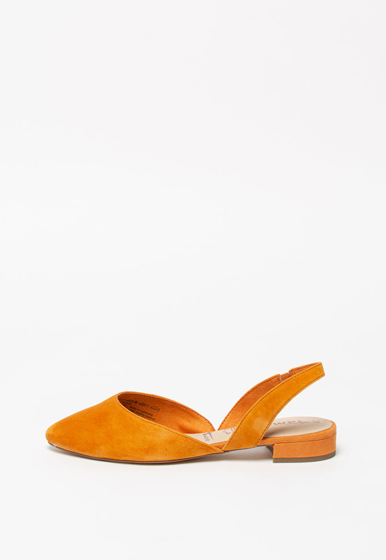 Pantofi slingback de piele intoarsa