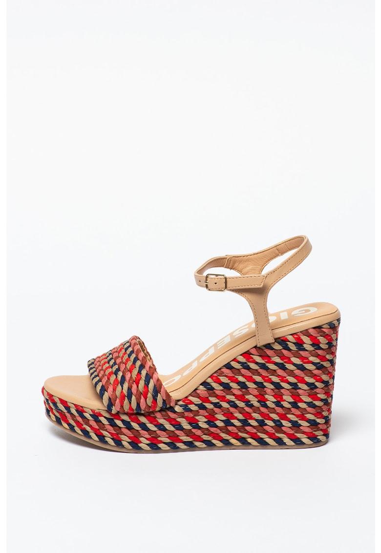 Sandale wedge cu insertii de piele Borba poza fashiondays