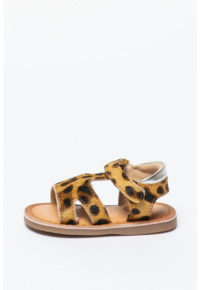 Sandale de piele cu par scurt si animal print Roseville fashiondays.ro
