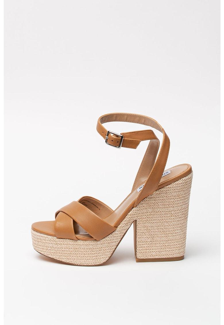 Sandale tip espadrile din piele - cu talpa demi-wedge Jina