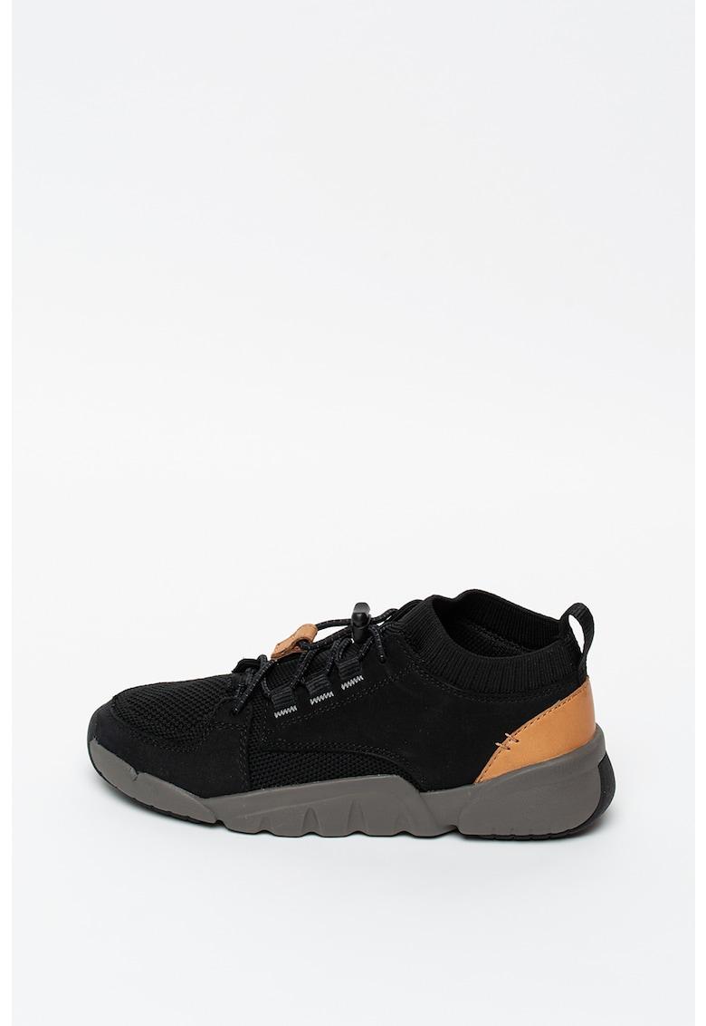 Pantofi sport slip-on de piele intoarsa cu insertii de plasa Tri-Lunar fashiondays.ro