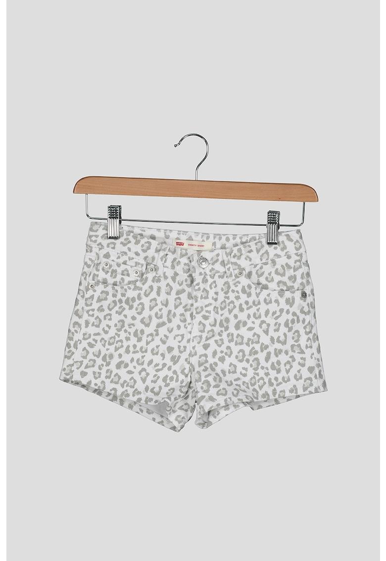 Pantaloni scurti de denim cu detalii contrastante