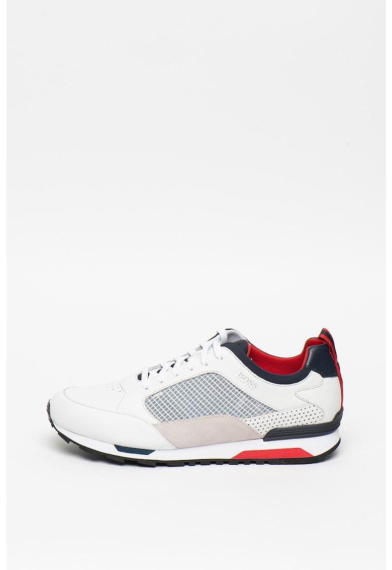 Pantofi sport de piele intoarsa cu insertii de plasa 2