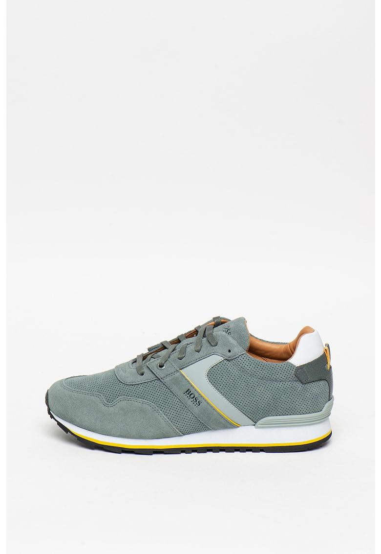 Pantofi sport de piele si material textil 2