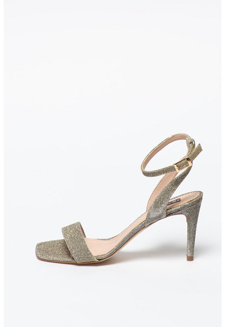 Sandale de piele ecologica - cu particule stralucitoare La-Digue