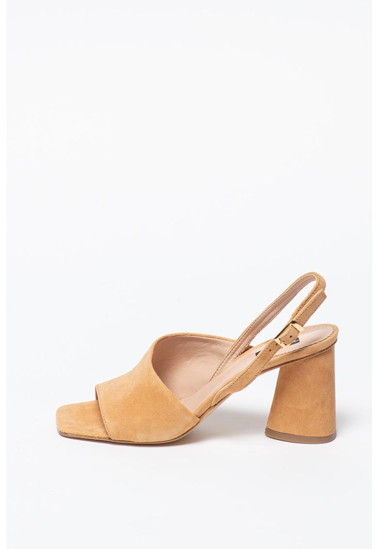 Sandale de piele nabuc cu toc masiv Maiorca