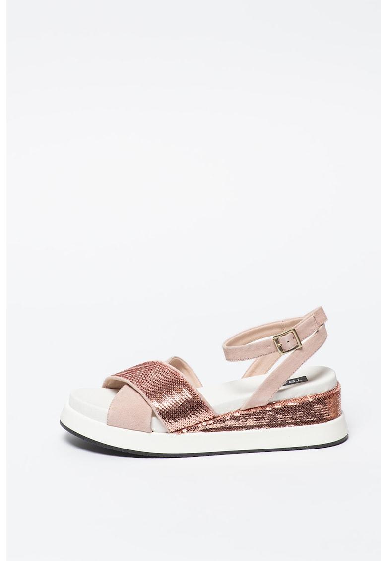 Sandale wedge de piele intoarsa - cu aplicatii din paiete Maui