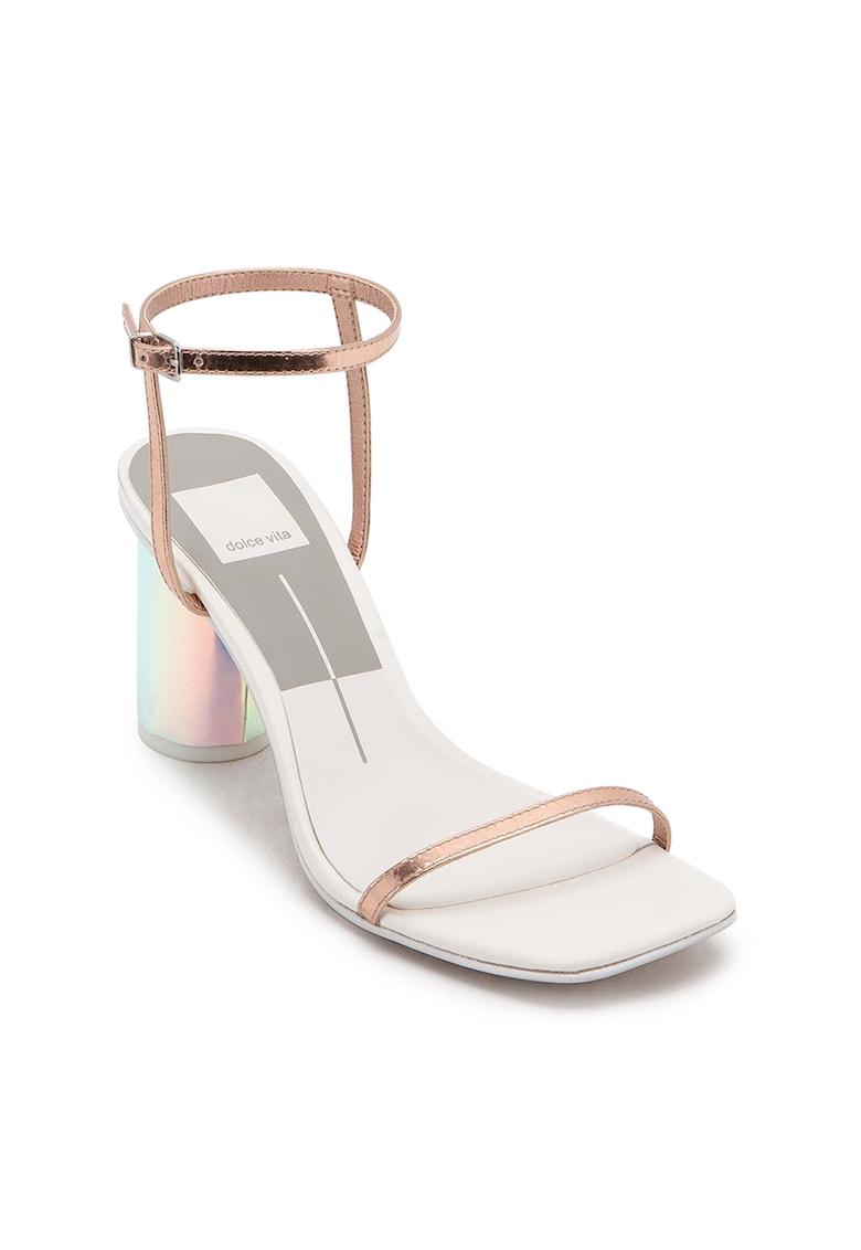 Sandale din piele cu toc cilindric Naomey