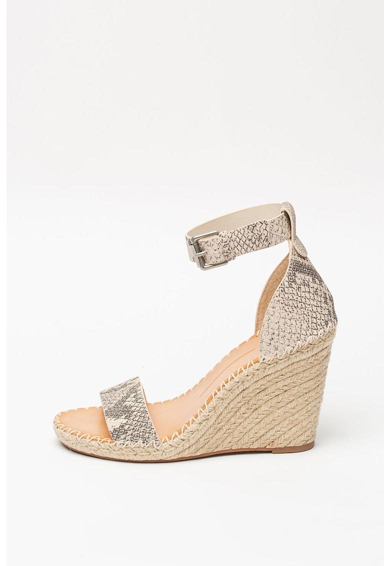 Sandale wedge - tip espadrile - din piele cu aspect piele de sarpe Noor