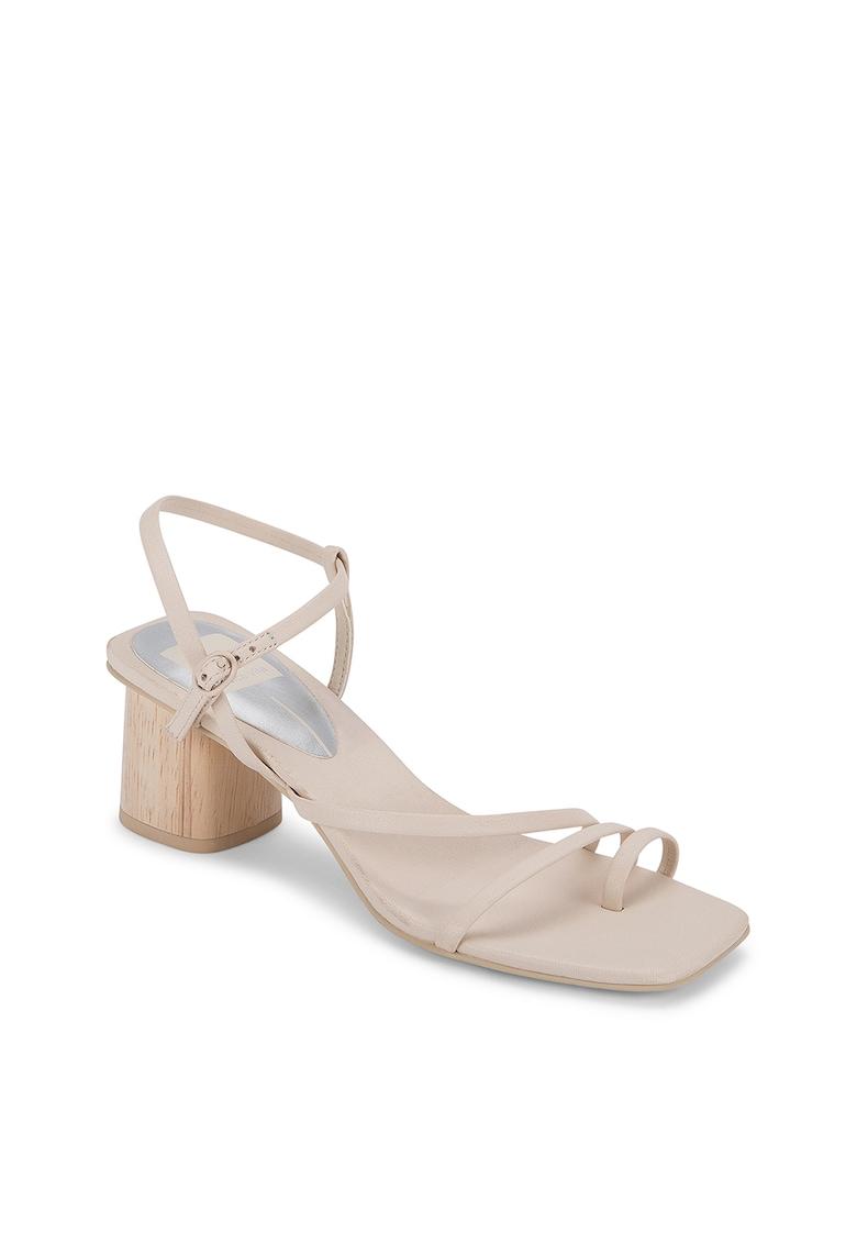 Sandale din piele cu toc masiv Zyda