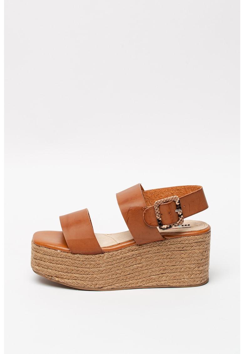 Sandale wedge tip espadrile de piele ecologica