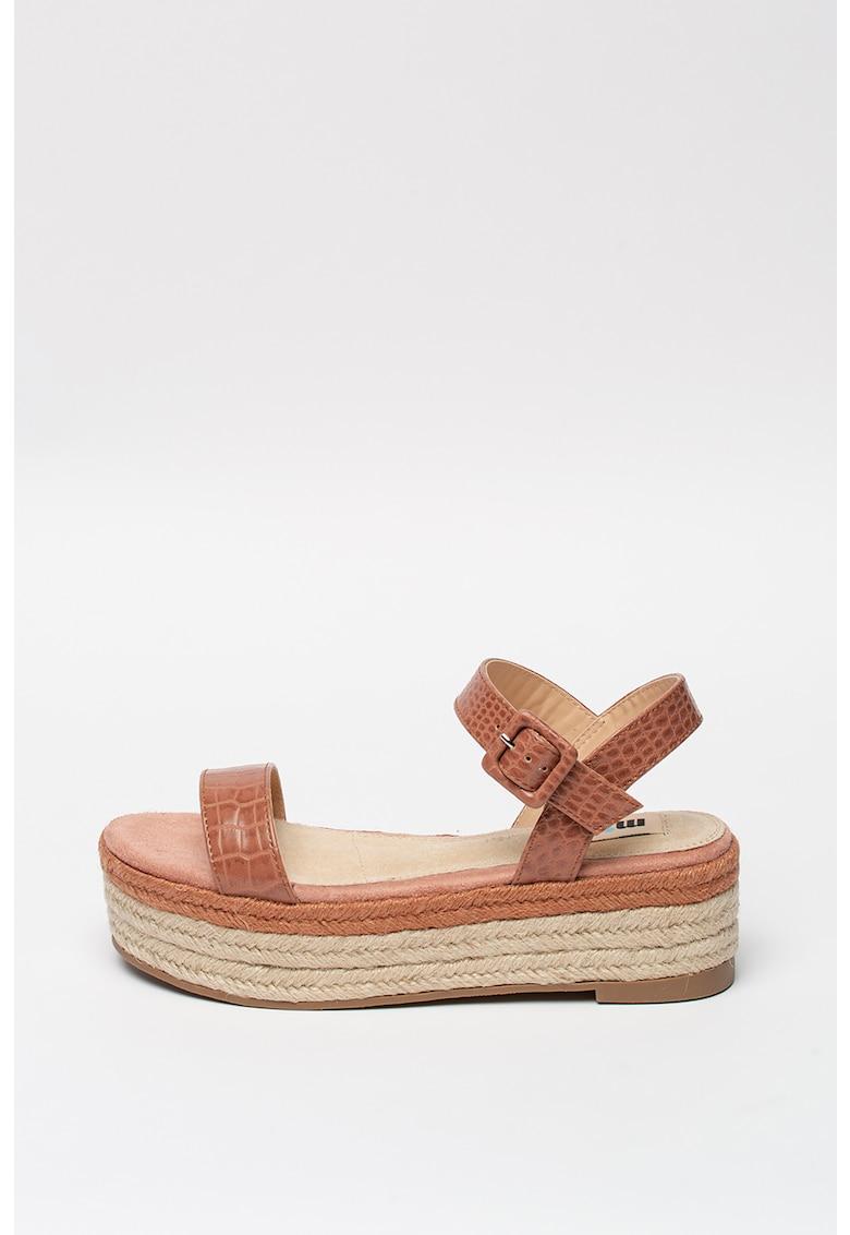 Sandale flatform tip espadrile cu model piele de crocodil
