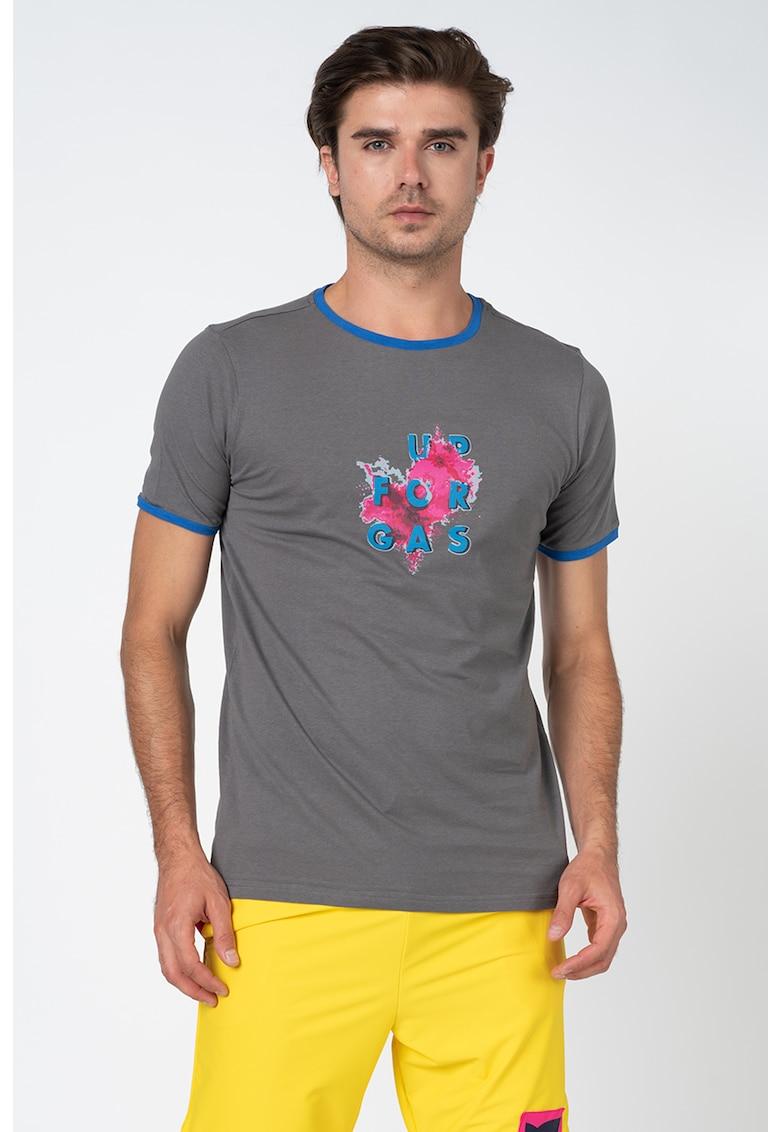 Tricou cu imprimeu grafic si logo imagine fashiondays.ro