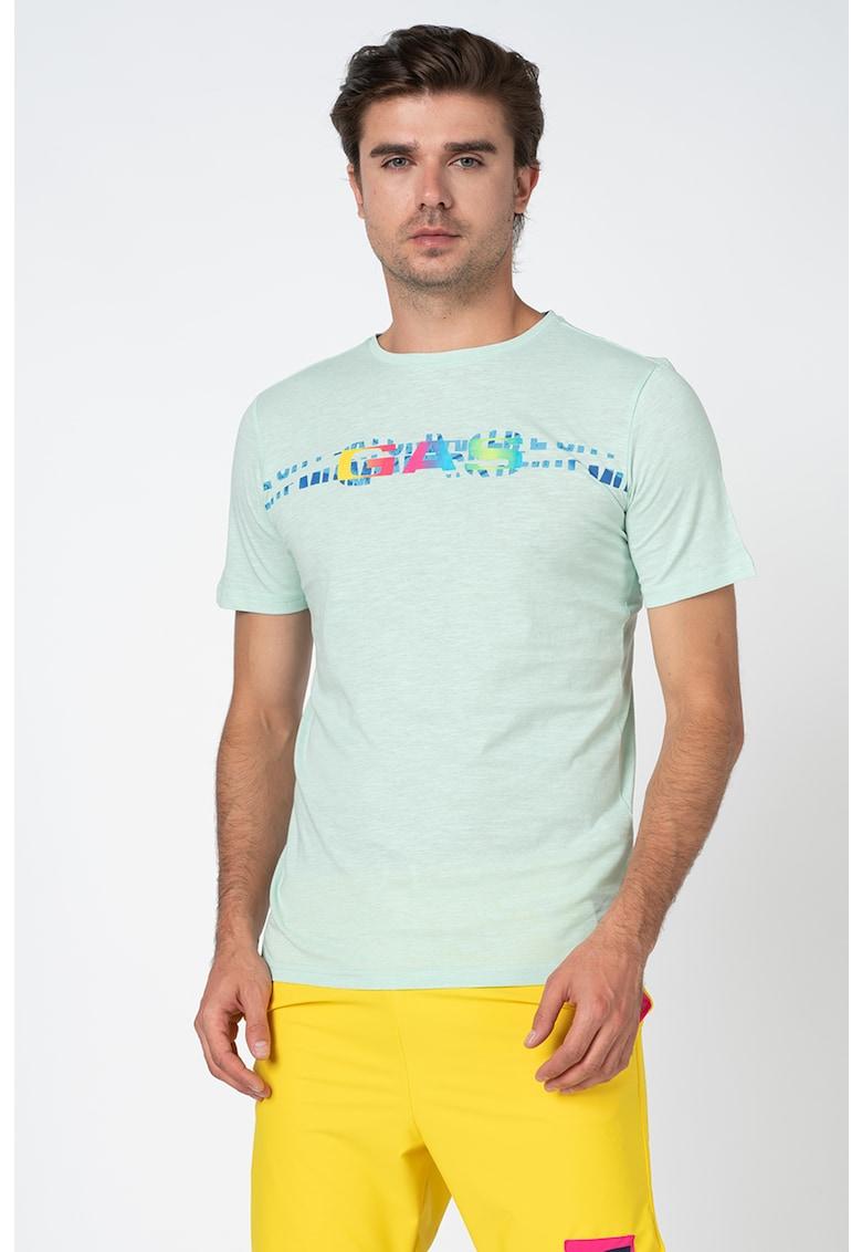 Tricou cu decolteu la baza gatului si imprimeu logo poza fashiondays