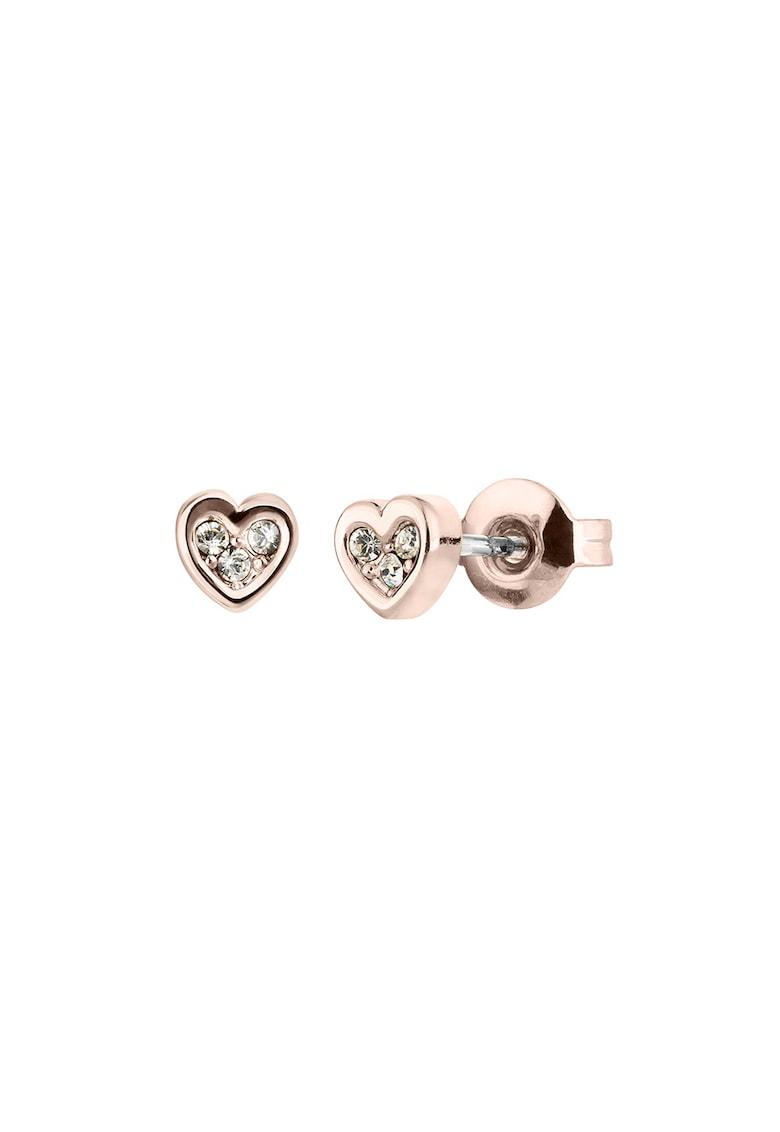 Cercei in forma de inima cu tija si decorati cu cristale Swarovski imagine fashiondays.ro