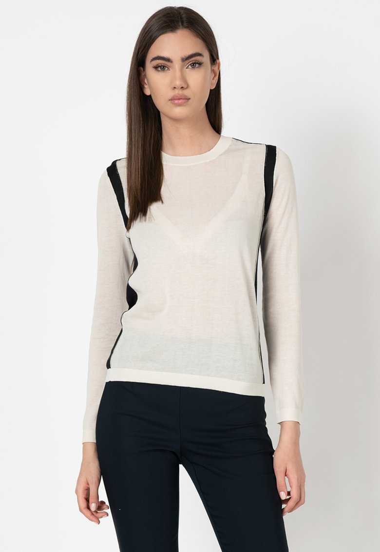 Pulover tricotat fin cu model colorblock