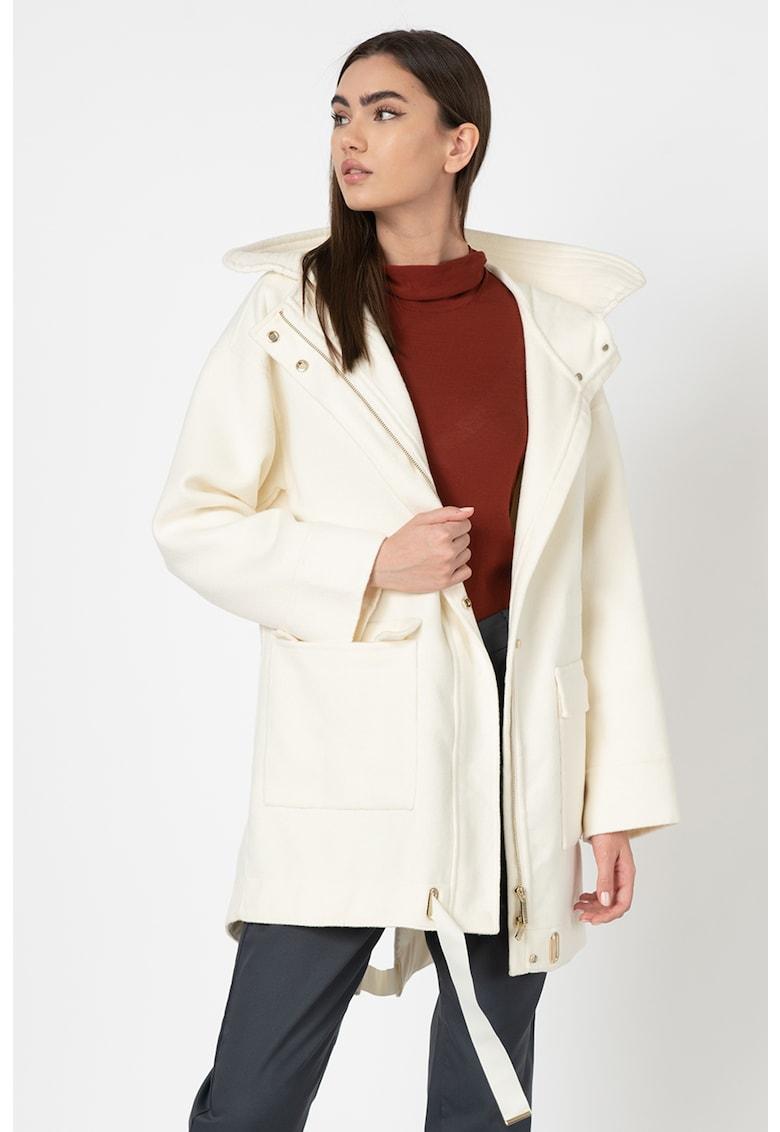 Jacheta parka lunga din amestec de lana - cu cordon imagine