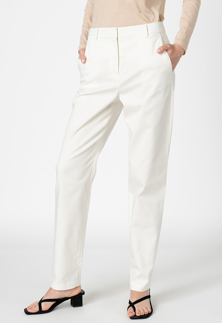 Pantaloni relaxed fit cu talie medie