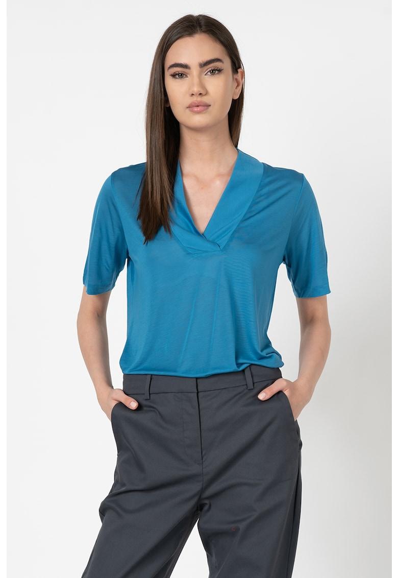 Bluza din lyocell cu decolteu in V imagine