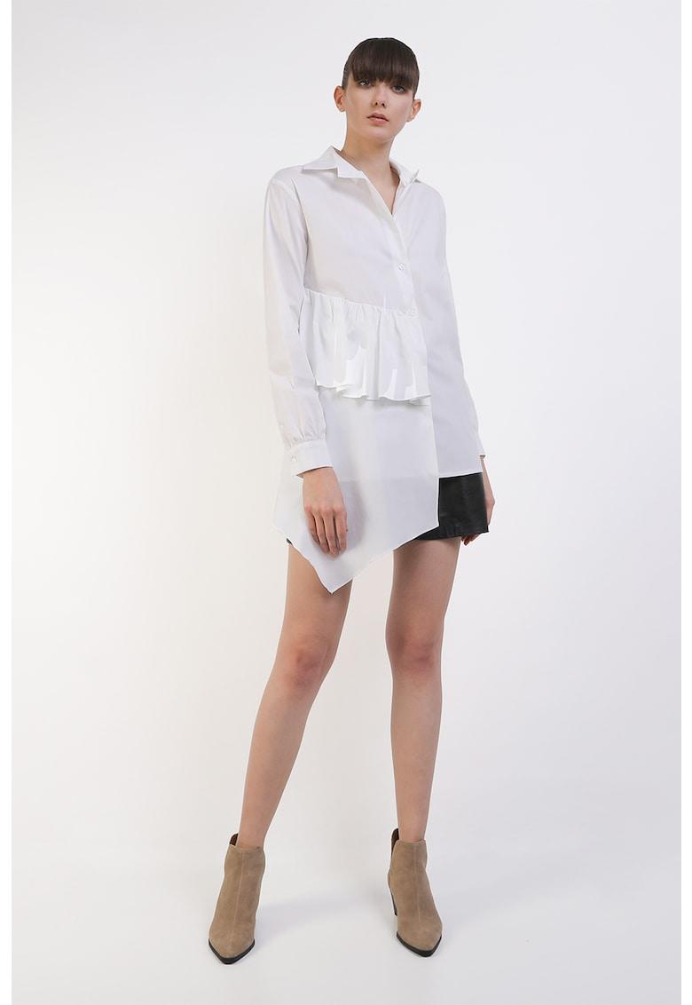 Camasa asimetrica cu volane Zarya imagine fashiondays.ro Framboise