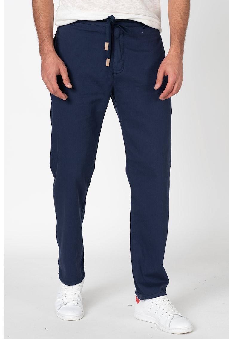 Pantaloni din bumbac cu snur in talie