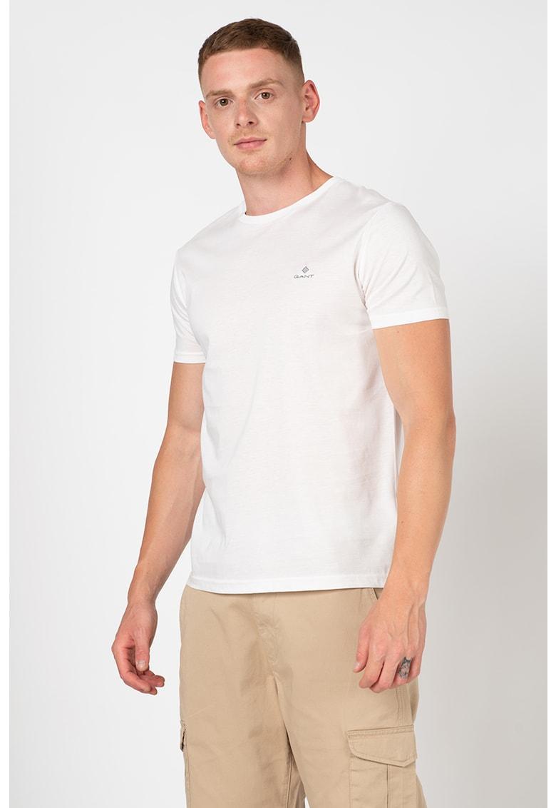 Tricou slim fit cu logo brodat imagine