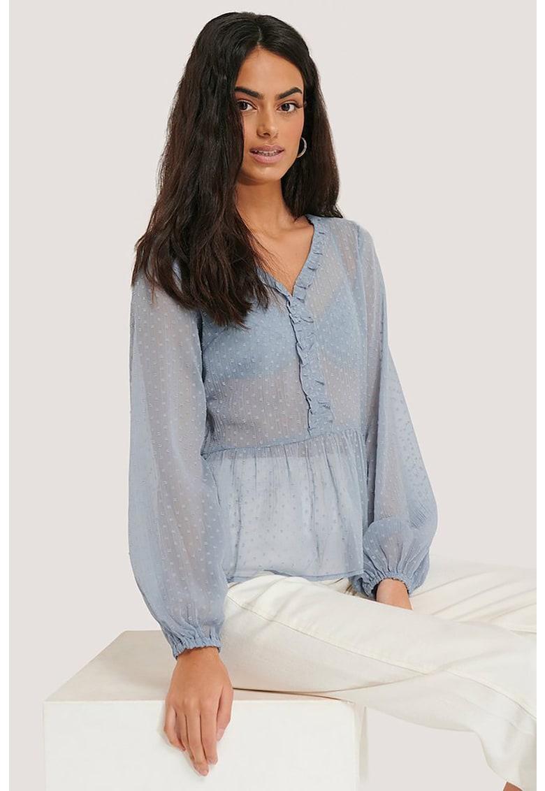 Bluza cu decolteu in V si aspect semitransparent