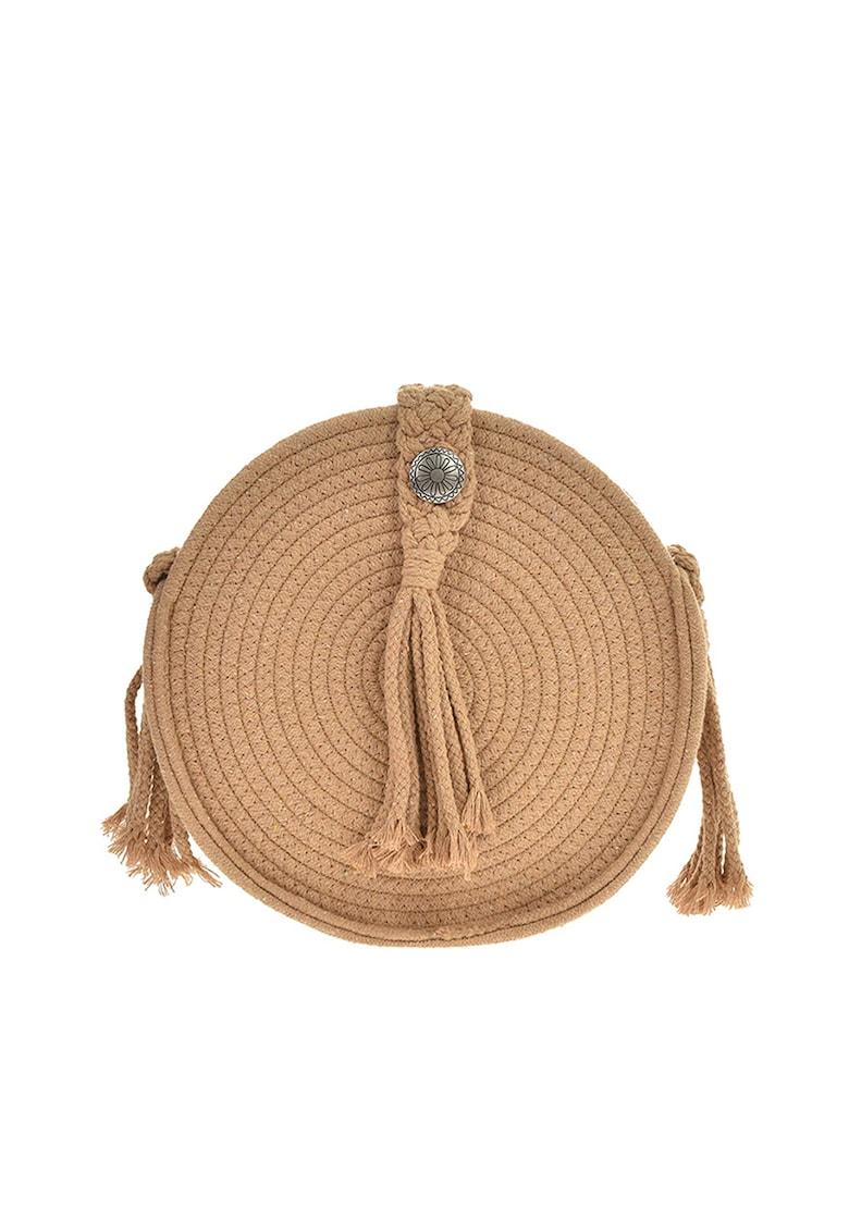 Geanta rotunda cu bareta de umar si aspect crosetat
