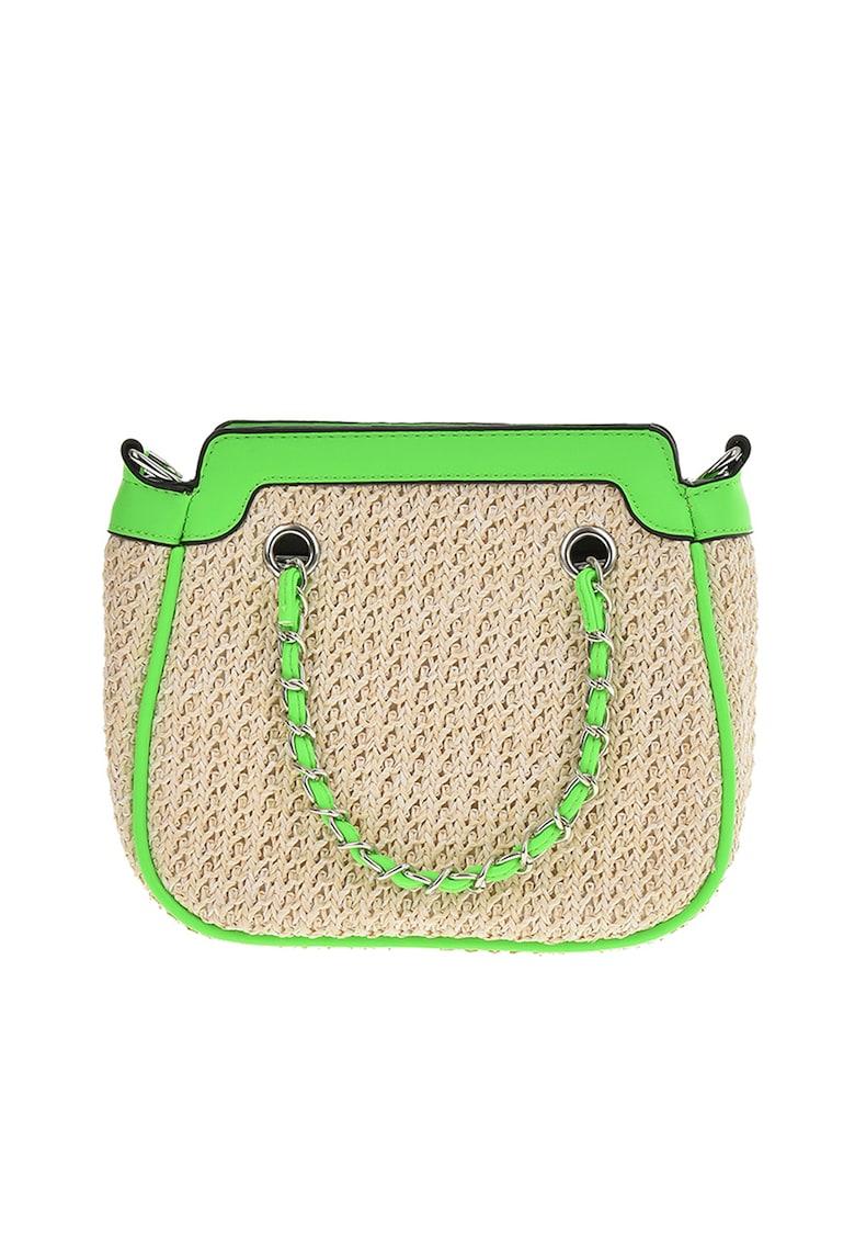 Geanta de mana - din paie de hartie - cu garnituri de piele ecologica imagine fashiondays.ro