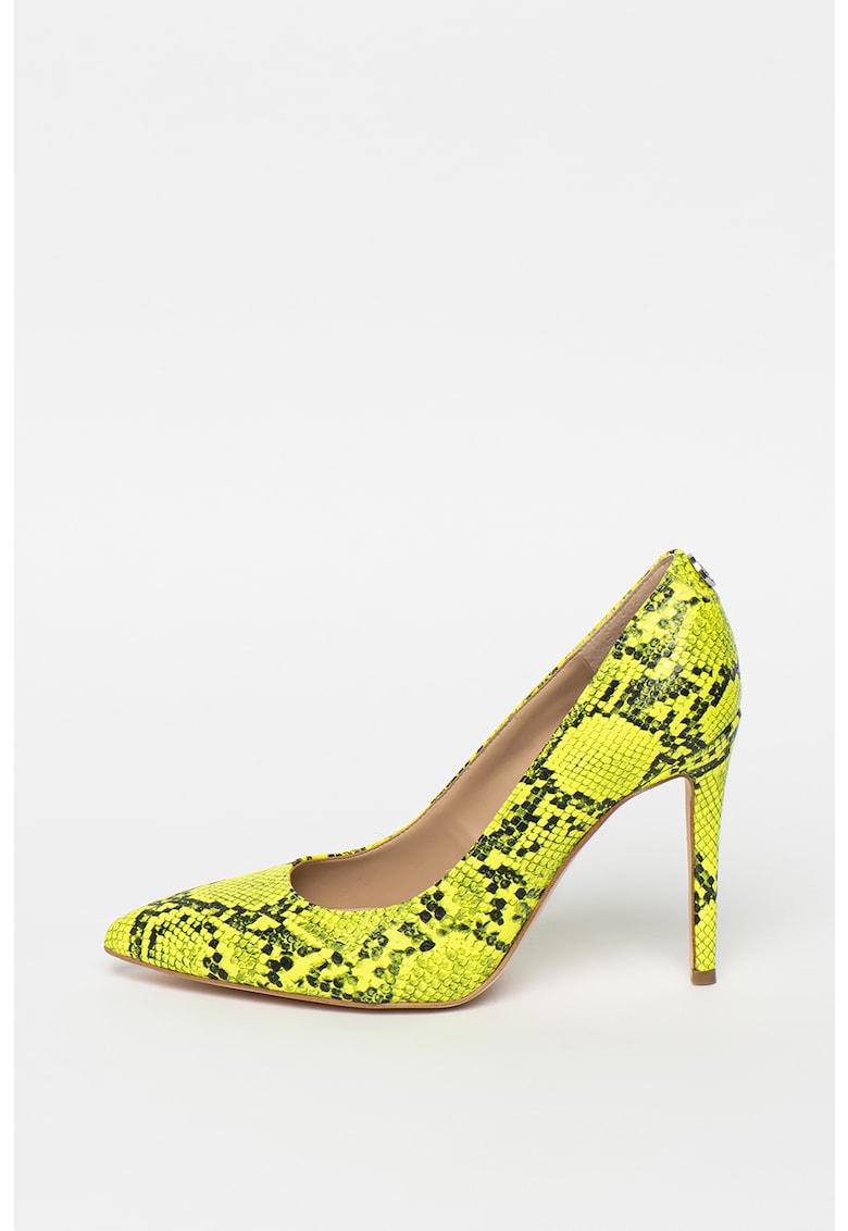 Pantofi de piele ecologica - cu model piele de reptila