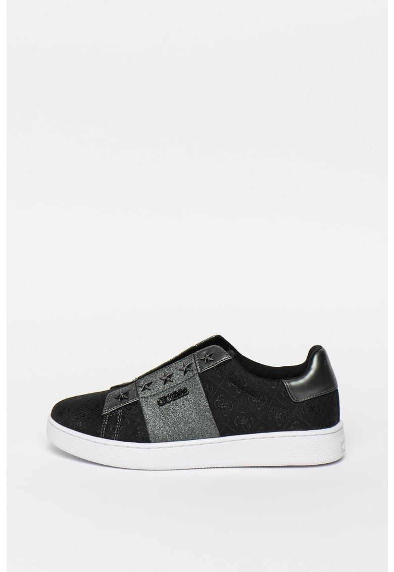Pantofi slip-on de piele ecologica si material textil - cu model monograma