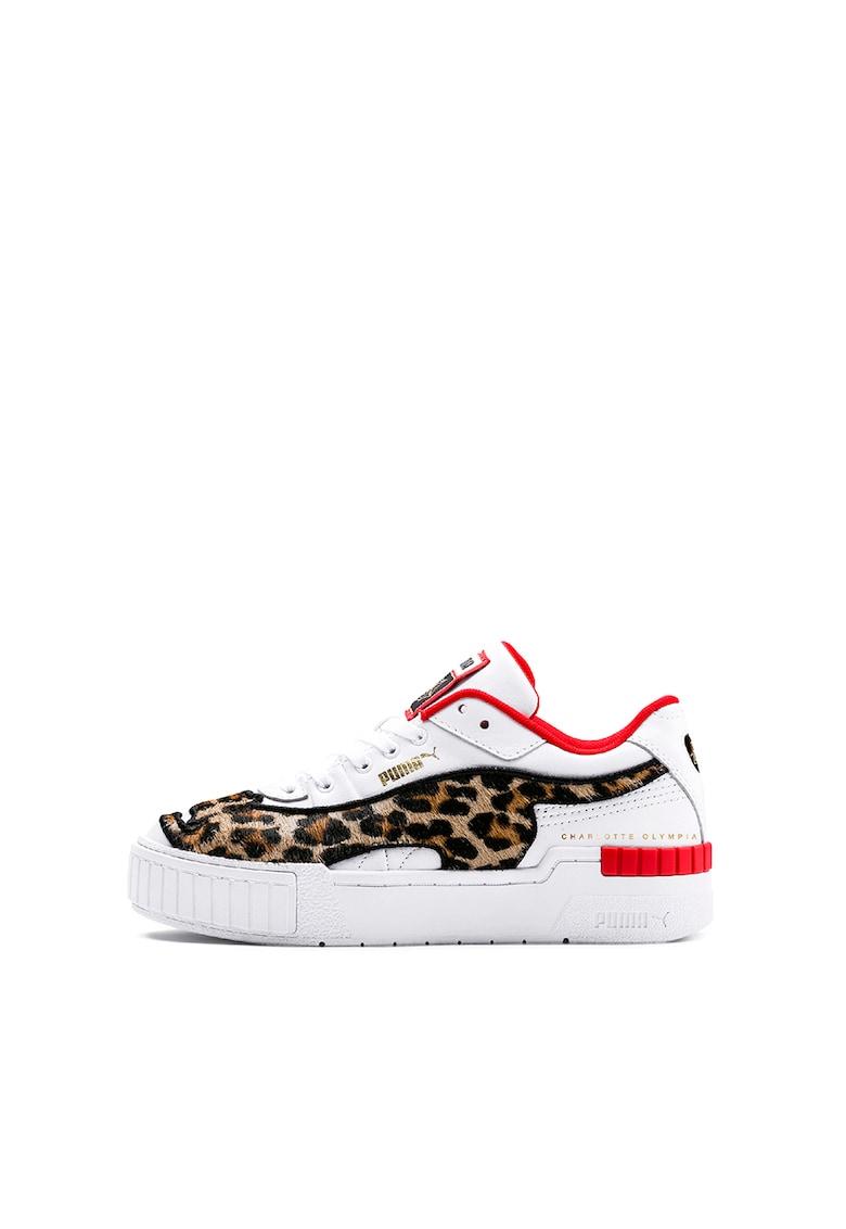 Pantofi sport de piele cu garnitura animal print Cali Puma fashiondays.ro