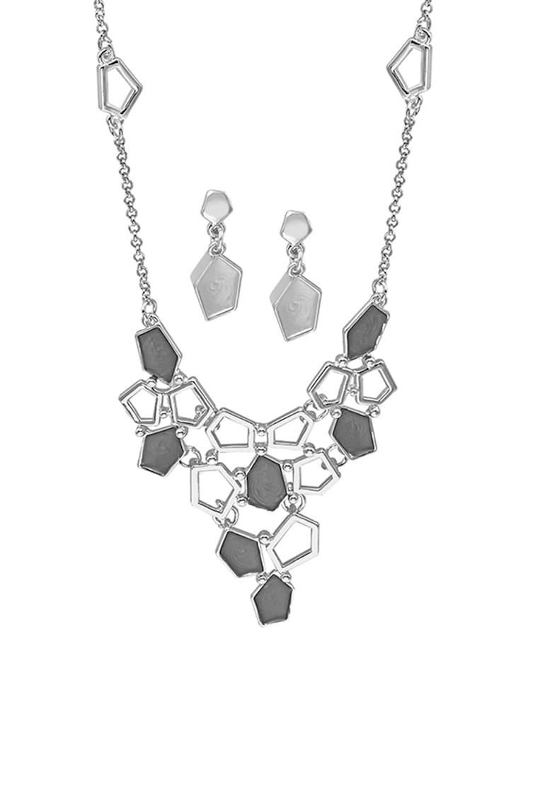 Set de colier din bronz cu design geometric si cercei