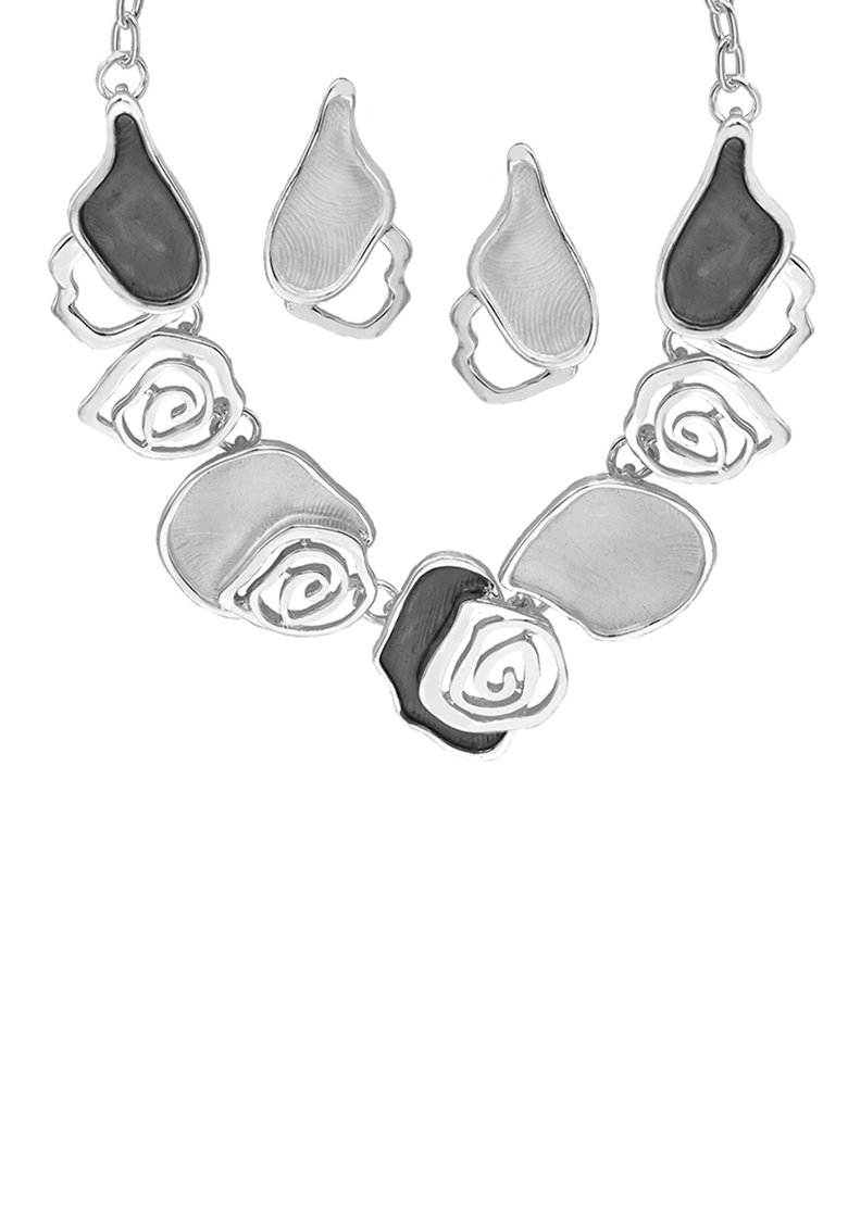 Set de cercei si colier din bron cu detalii in forma de trandafir