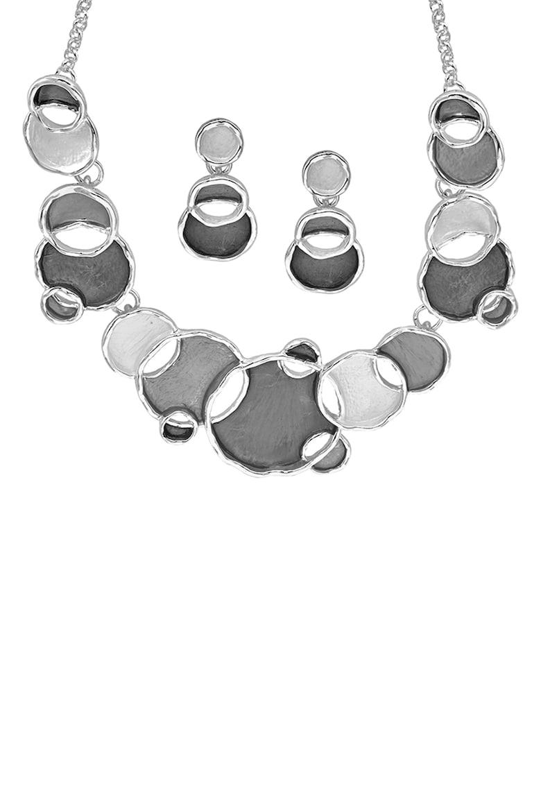 Set de colier din bronz si cercei cu detalii rotunjite