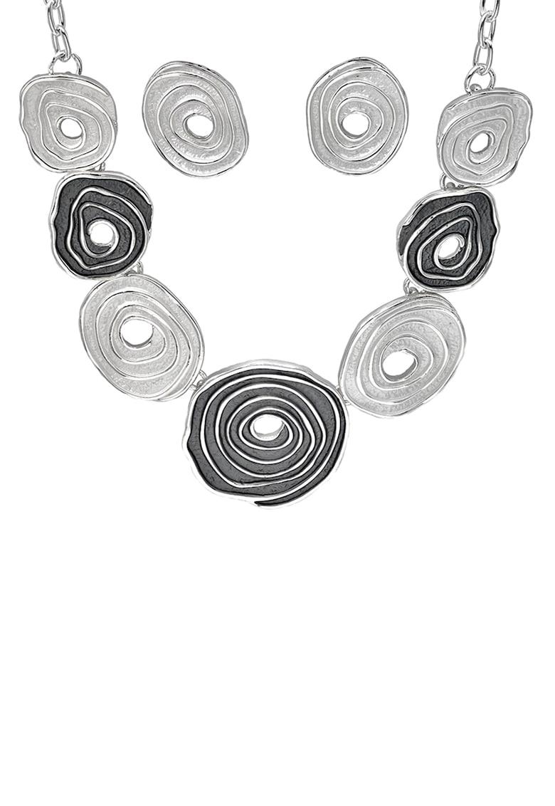 Set de colier din bronz si cercei cu aspect spiralat