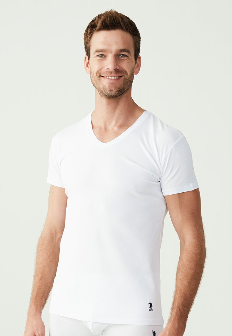 U.S.Polo Assn. - Set de tricouri de casa cu decolteu in V - 2 piese