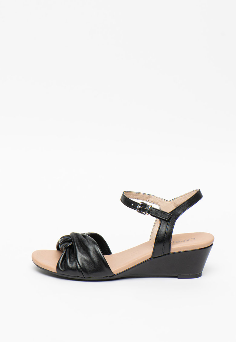 Sandale wedge de piele ecologica cu model cu pliuri