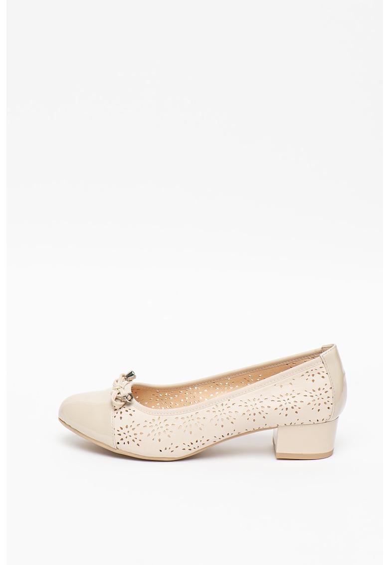 Caprice Pantofi de piele si piele lacuita cu model cu perforatii