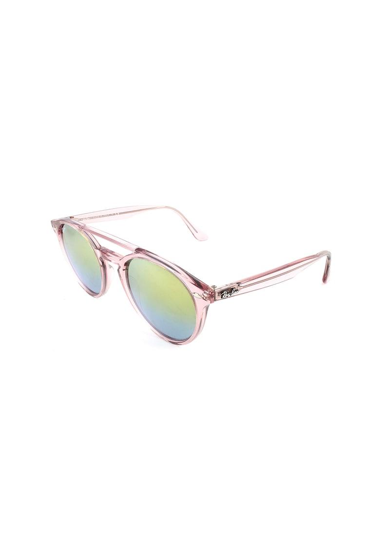 Ochelari de soare unisex rotunzi cu lentile oglinda