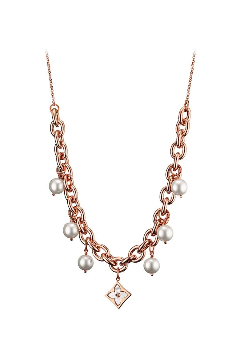 Colier placat cu aur rose si decorat cu perle poza fashiondays