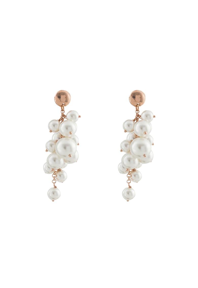 Cercei de argint placati cu aur rose de 18K si decorati cu perle
