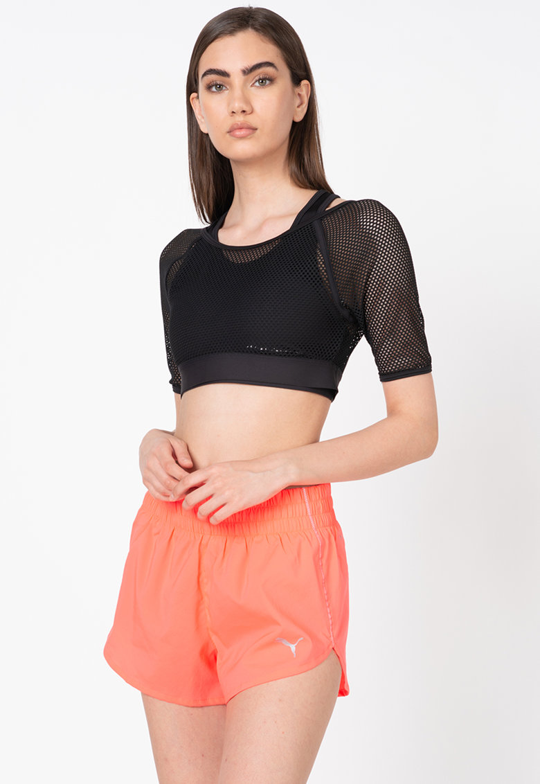 Tricou crop din plasa - cu design 2in1 - pentru fitness