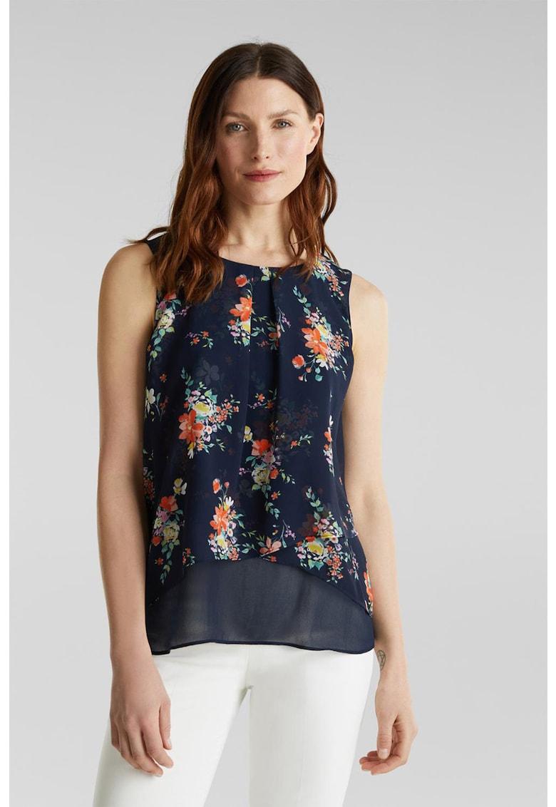 Bluza din sifon cu imprimeu floral - fara maneci