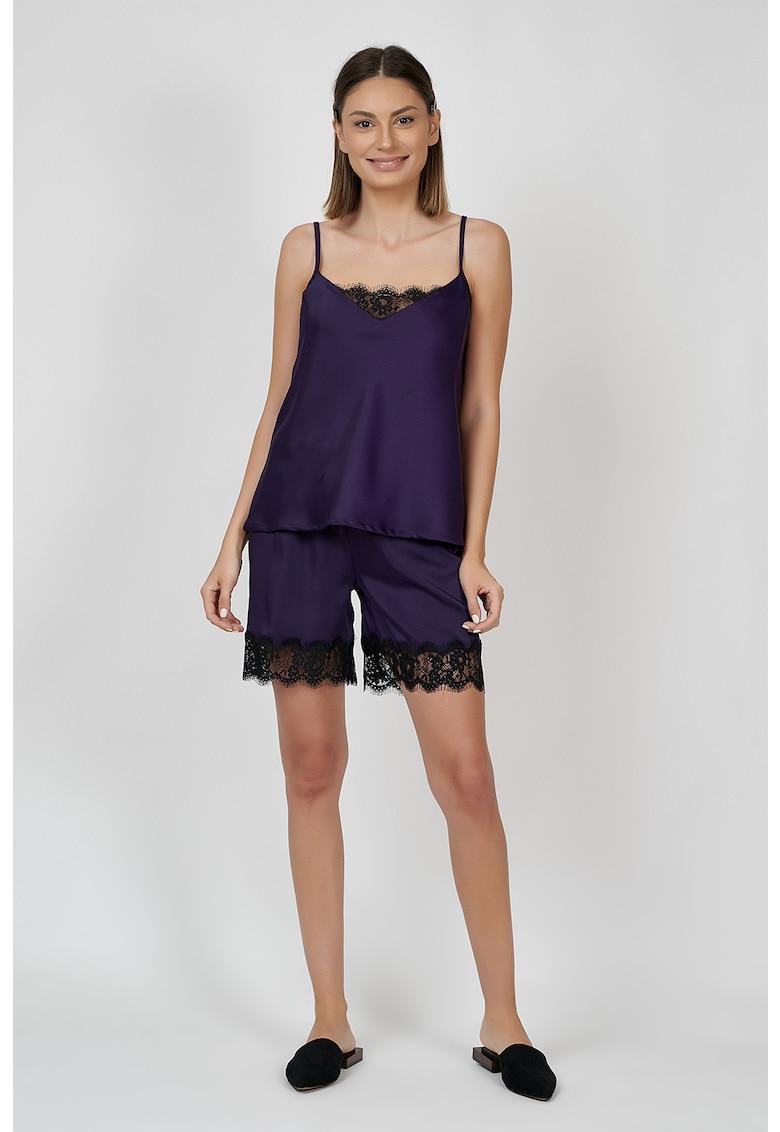Pijama scurta de satin cu margini de dantela poza fashiondays