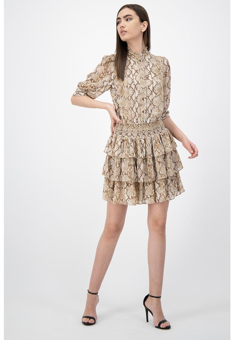 Rochie mini cu aspect stratificat si talie elastica